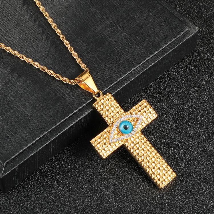 14k Gold Good Vs Evil Hip Hop Bling Iced Out Eye Cross Pendant Chain db4d92638