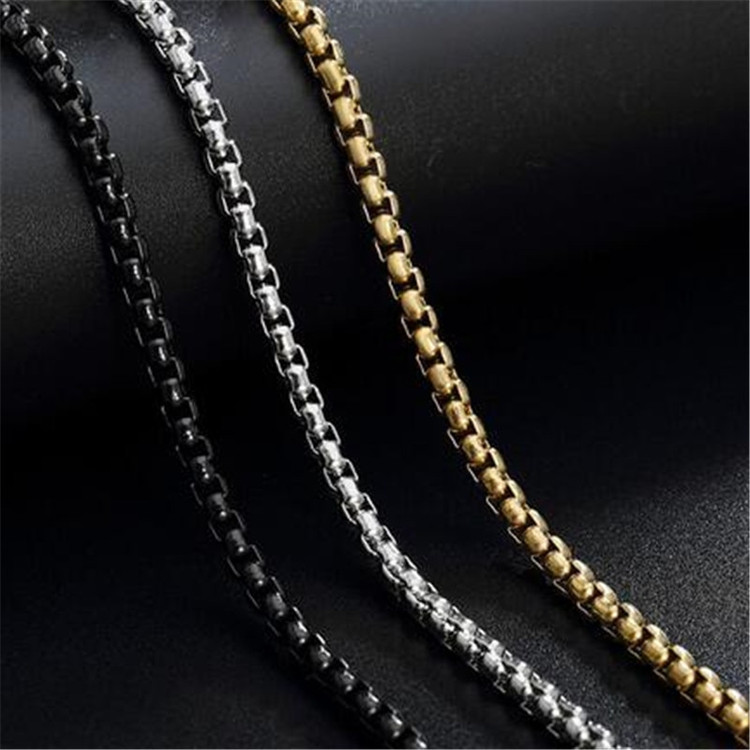 Gold Silver Black 316L Stainless Steel Necklace Mens Box Rolo Link Chain