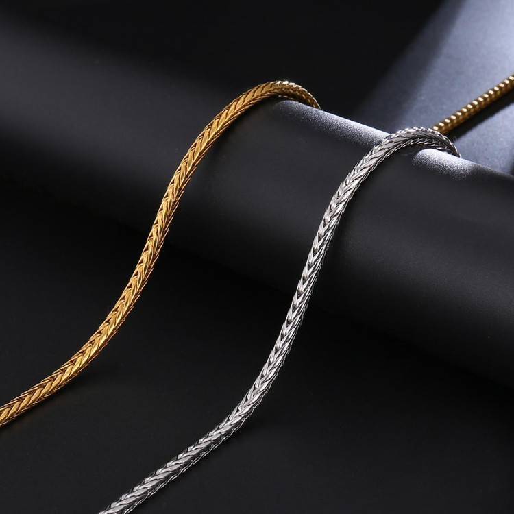 14k Gold Silver Foxtail Franco Twisted Link Chain
