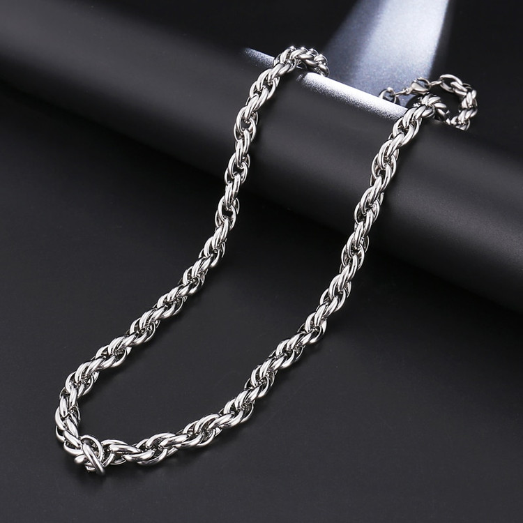 Silver Titanium Stainless Steel 7MM Twisted Rope Chain Necklace 24 Inch