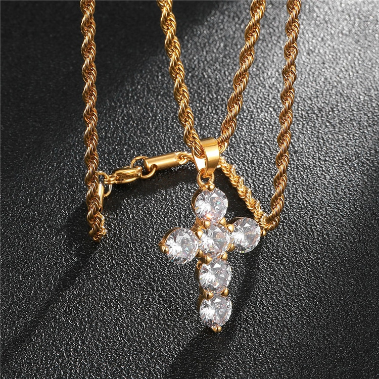 Iced Out Bling Stainless Steel Lab Diamond 14k Gold Stainless Steel Stone Cross