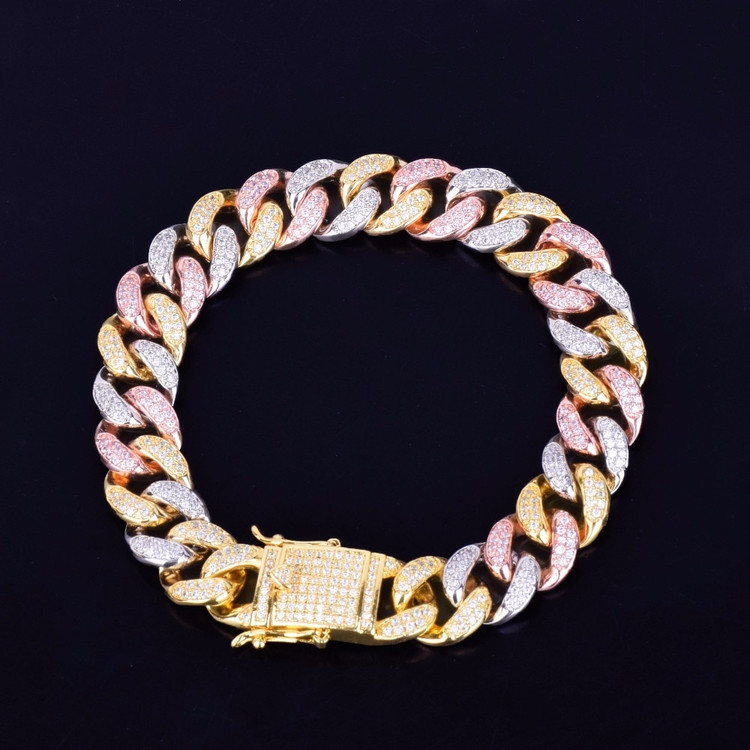 2MM Mixed Color Miami Cuban Link Chain Bracelet