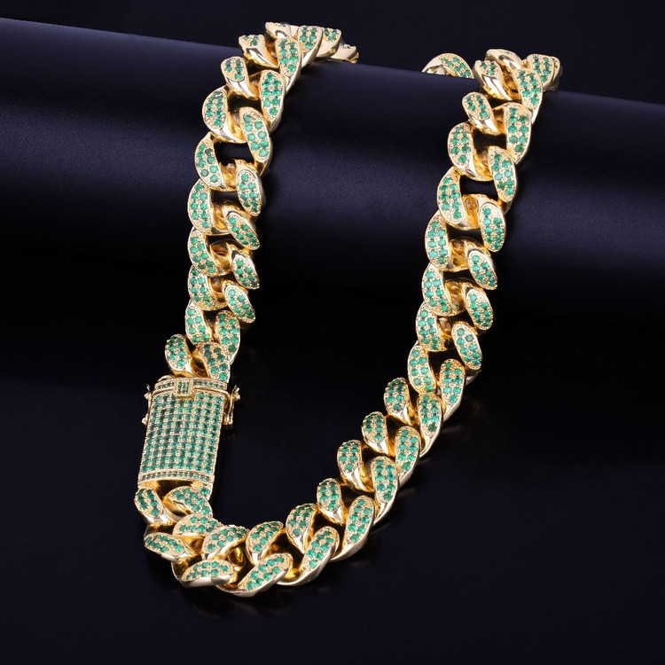 20mm Heavy Green Lab Diamond Bling Miami Cuban Link