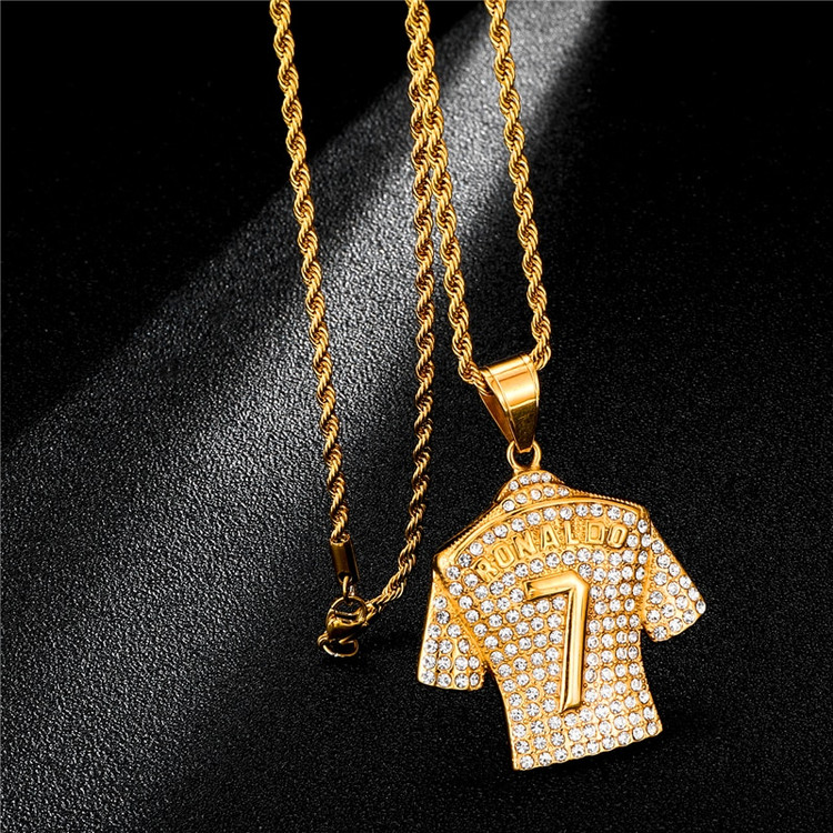 Ronaldo Inspired 14k Gold Stainless Steel Jersey Pendant
