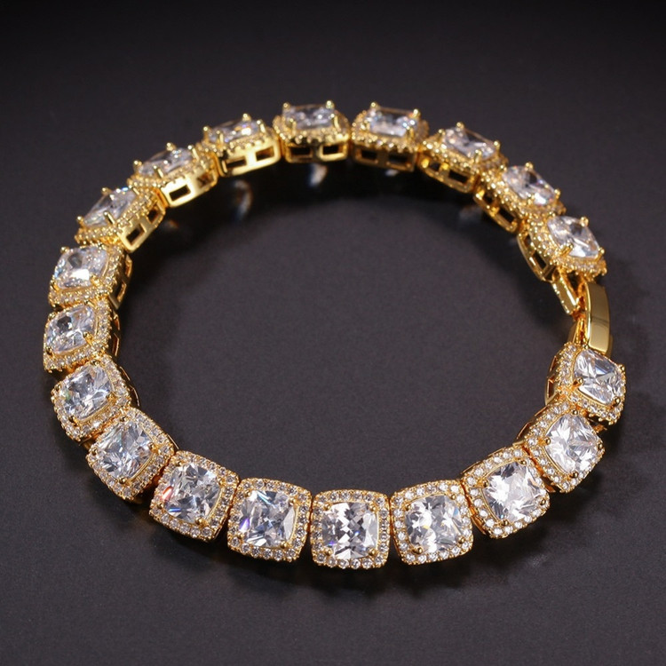 14k Gold Mens Lab diamond Bracelet