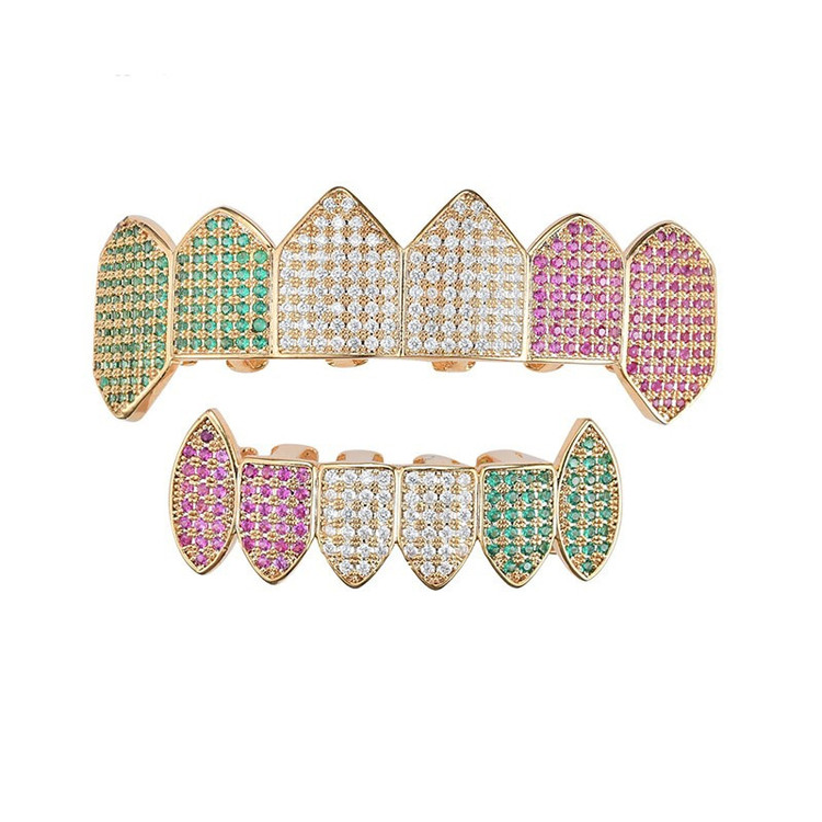 Candy Mouth Micro Pave Lab Diamond Fang Top Bottom Teeth Grillz Set