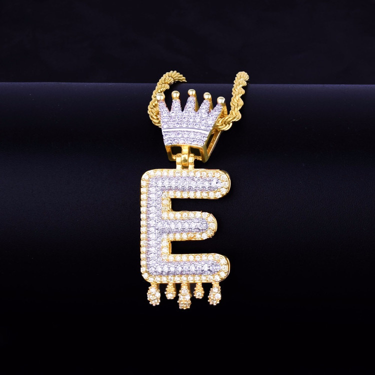 Custom Ice Crown Bail Purple Drip Initials Bubble Letters Gold Silver Bling Chain Pendant