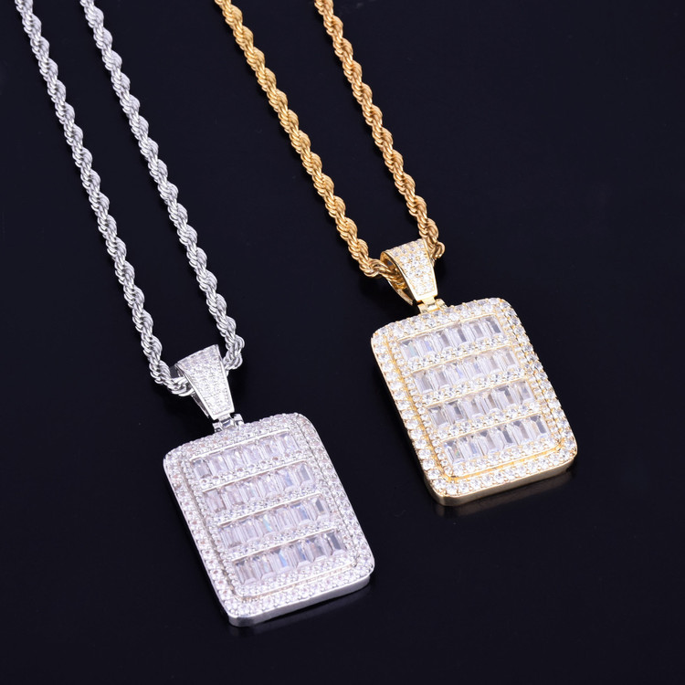Baguette Stone All Iced Dog Tag 14k Gold Silver Hip Hop Pendant Chain Necklace