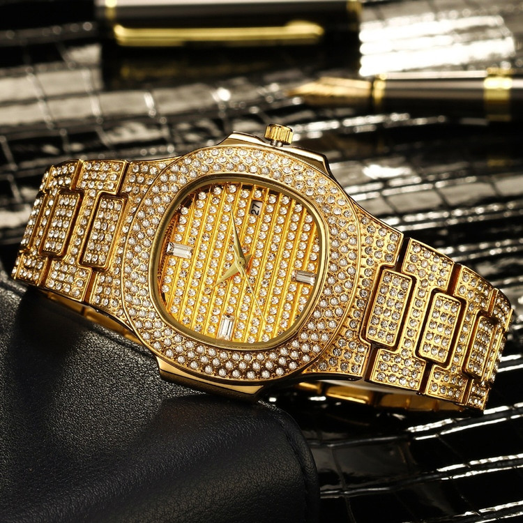 14k Gold Stainless Steel Iced Bling Watch