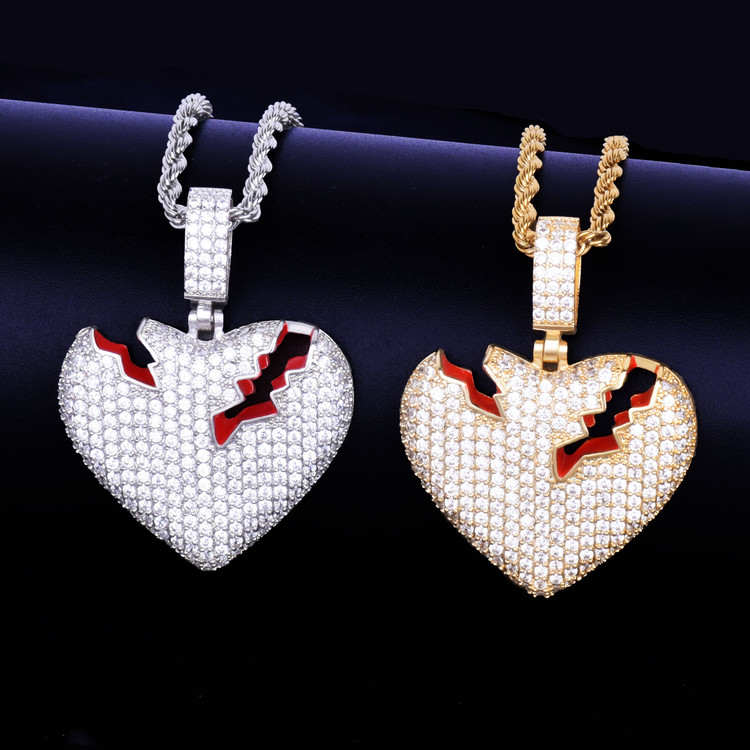 Broken Heart Hip Hop Pendant