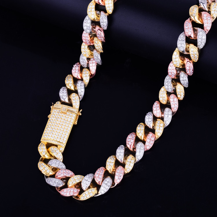 Tri Color Miami Cuban Link Chain