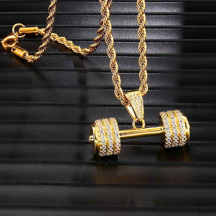Lab Diamond Rope Chain Barbell Gym Fitness Dumbbell