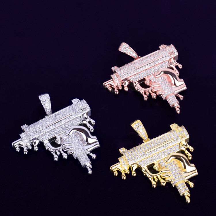 Rose Gold Silver Hand Holding Dripping Uzi Machine Gun Chain