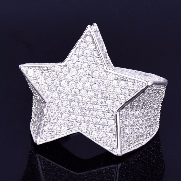 Hip Hop Five Star Men's 14k Gold Silver Iced Lab Diamond Micro Pave Ring