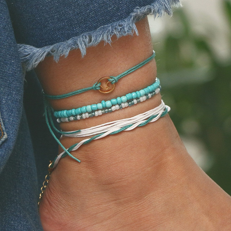 Ladies Beach Blue Green Rope Wave Bohemian Layered Ankle Bracelet