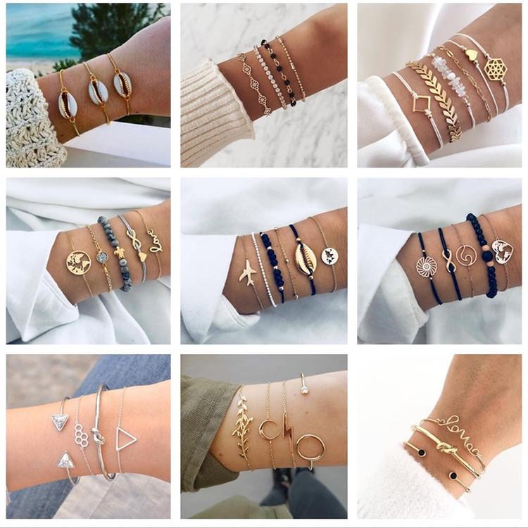 Womens Summer Beach Heart Shell Arrow Bracelets Bangle Adjustable Set