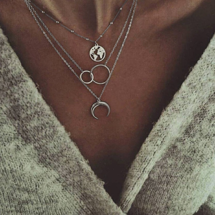Women Fashion Traveler Moon World Map Circle Pendant Multilayer Silver Necklace Charm Set