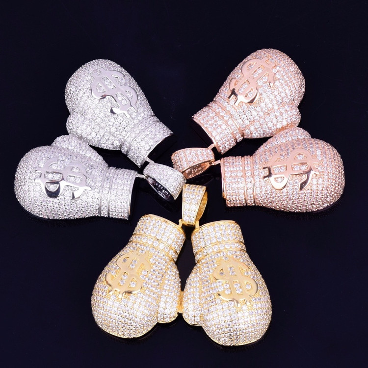 14k Micro Pave Lab Diamond Money Boxing Gloves Pendant