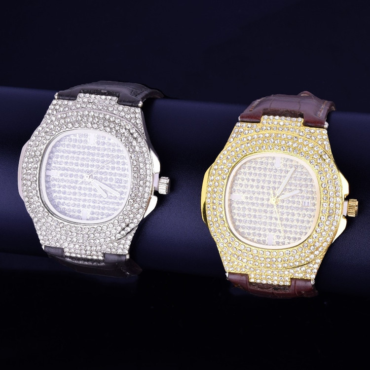 Luxury Iced Faced 925 Silver 14k Gold Stainless Steel Bling Leather Watch