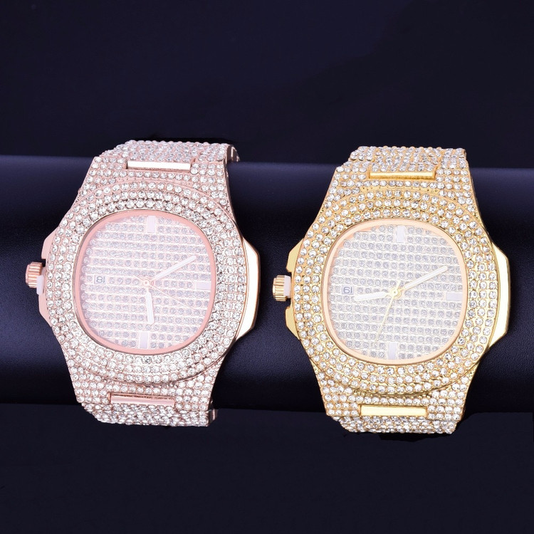 Mens Lab Diamond Iced Faced 925 Silver 14k Rose Gold Stainless Steel Luxury Bling Wristwatch