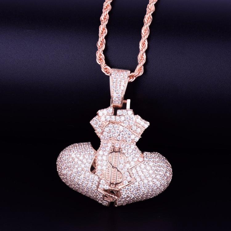 Rose Gold Money Bag Heart Pendant