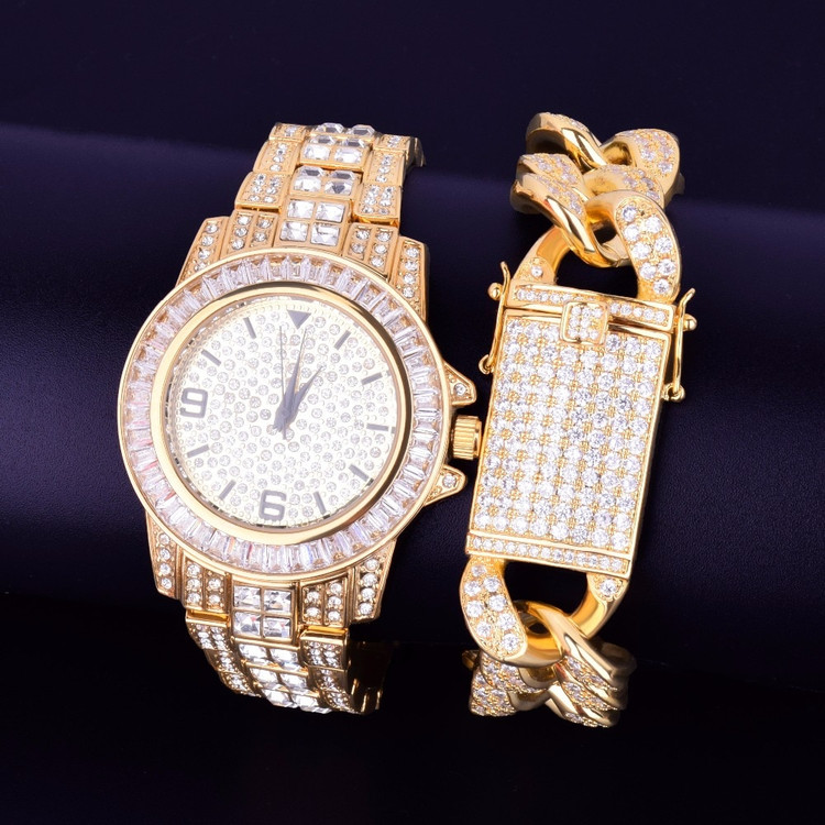Lab Diamond Luxury Baguette 14k Gold Stainless Steel Bling Watch