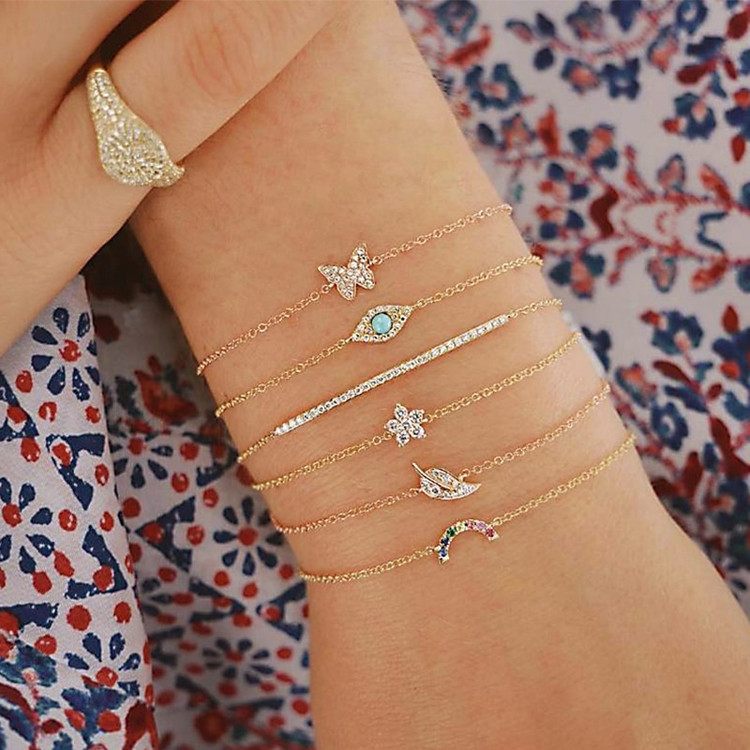 6 Piece Butterfly all seeing eye moon Leaves Crystal Bracelet Set