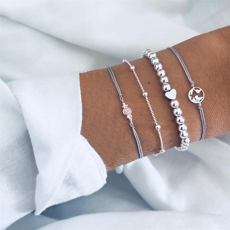 Ladies 4 Piece World Traveler Heart Bead Silver Layered Bracelet Set
