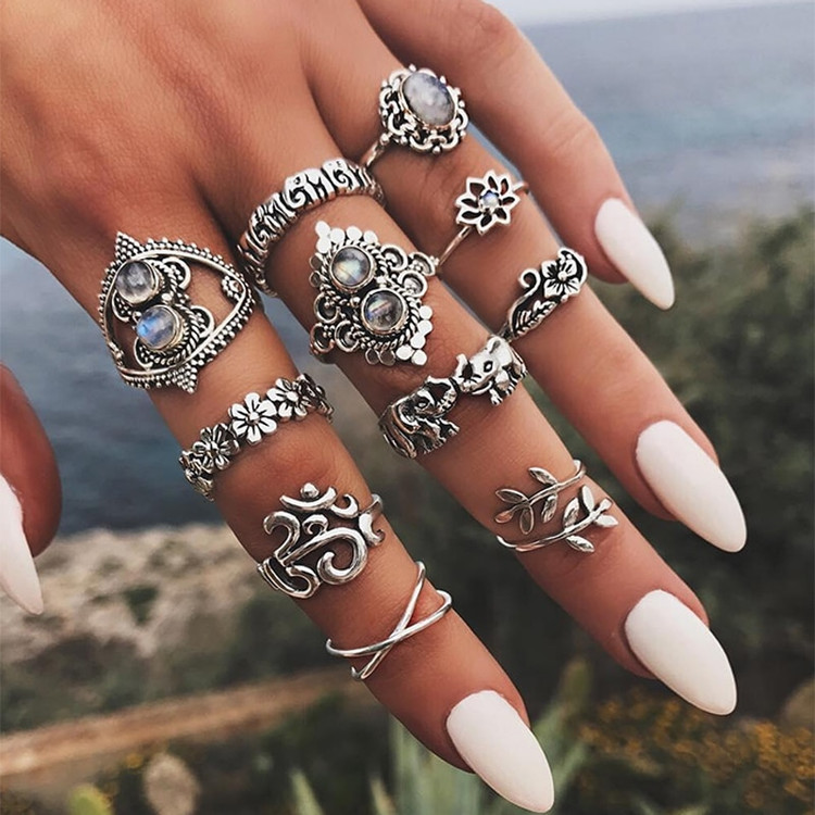 11 Piece Retro Boho Elephant Flower Twisted Leaves Cross Gem Ring Set