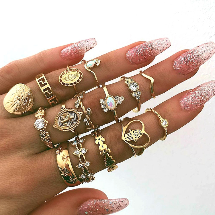 15 Piece Hearts Fatima Hand Virgin Mary Cross Ring Set Gold