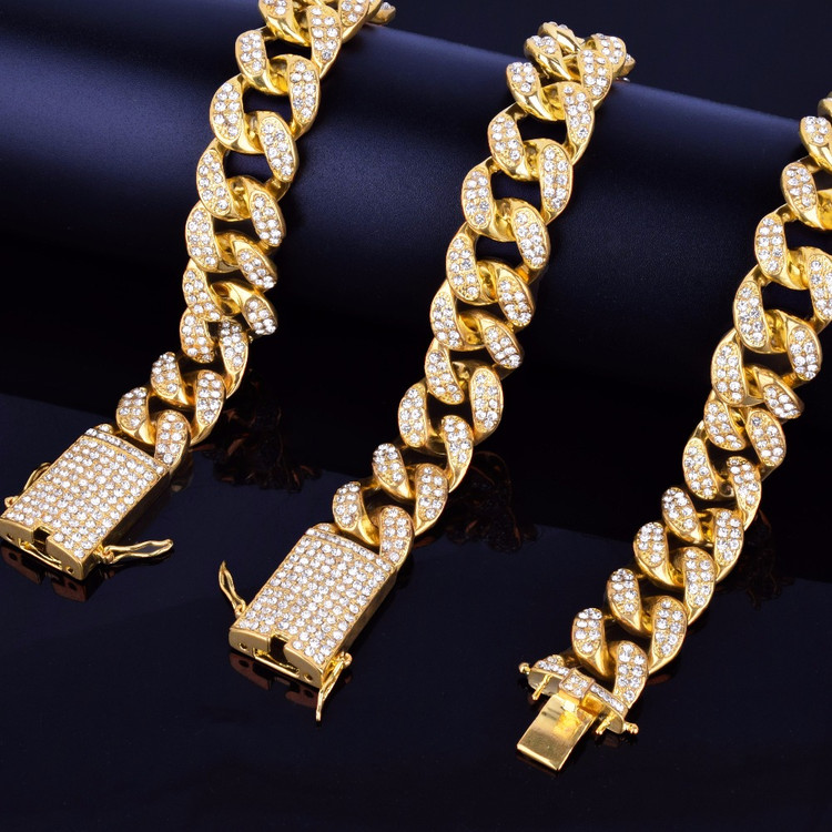 Simulated Diamond Miami Cuban Link 20mm 14k Gold Silver Rose Gold Hip Hop Chain Bracelet Set