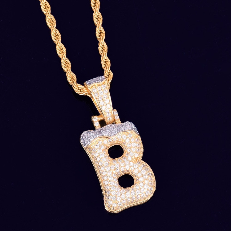 Iced Snow Capped Lab Diamond Initial Letter Hip Hop Pendant Chain Necklace