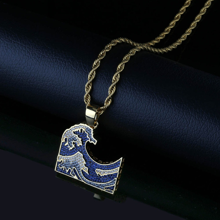 The Great Wave Off Kanagawa Iced Hip Hop Pendant Chain Necklace