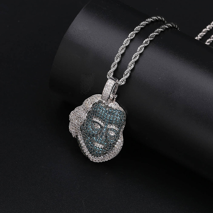 Hip Hop Blue Face Platinum Benjamin Franklin Lab Diamond Piece Pendant Chain Necklace
