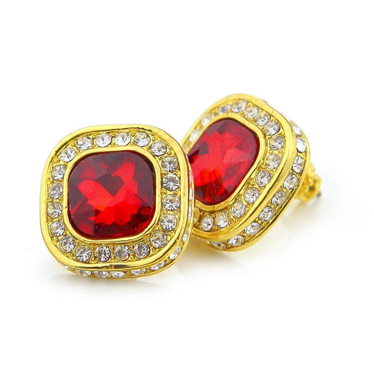 Hip Hop Red Blue Black Square Bling Gemstone Stud Earrings