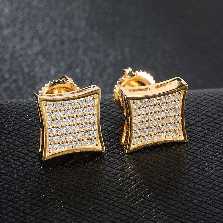 AAA Full Micro Pave Square Bling 14k Gold Iced Stud Earrings