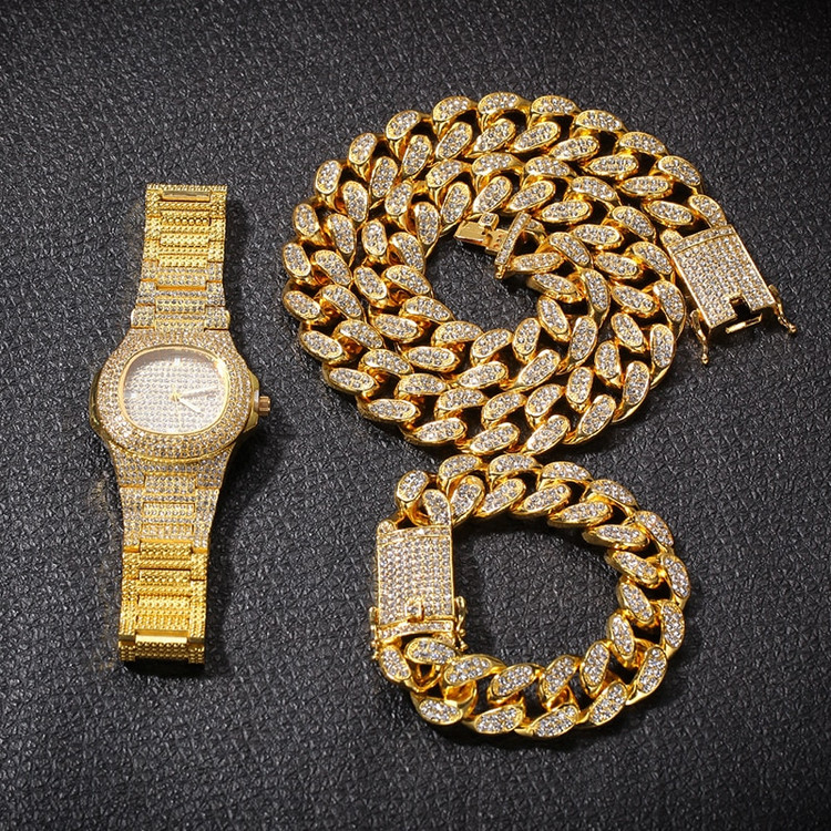 Hip Hop 14k Rose Gold Silver Miami Cuban Link Chain Bracelet Watch Jewelry Set