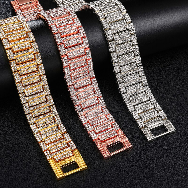 Hip Hop Full AAA Simulate Diamond 14k Rose Gold Silver Watch Band Link Bracelet