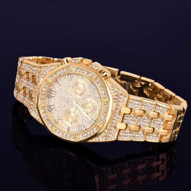 Men's 14k Gold Studded Stone Bezel Big Face Stainless Steel Wrist Watch