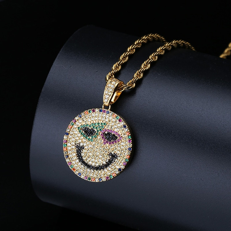 Bling Bling 14k Gold AAA Simulate Diamond Smile Emoji Pendant Chain Necklace