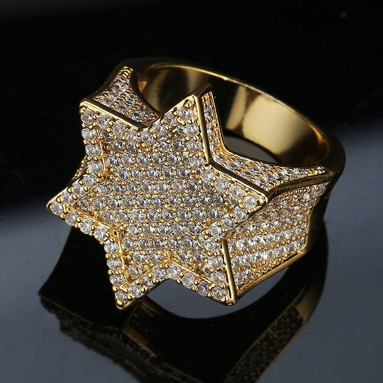 14k Gold Silver Flooded Iced Hexagon Star Rap Star Hip Hop Rings