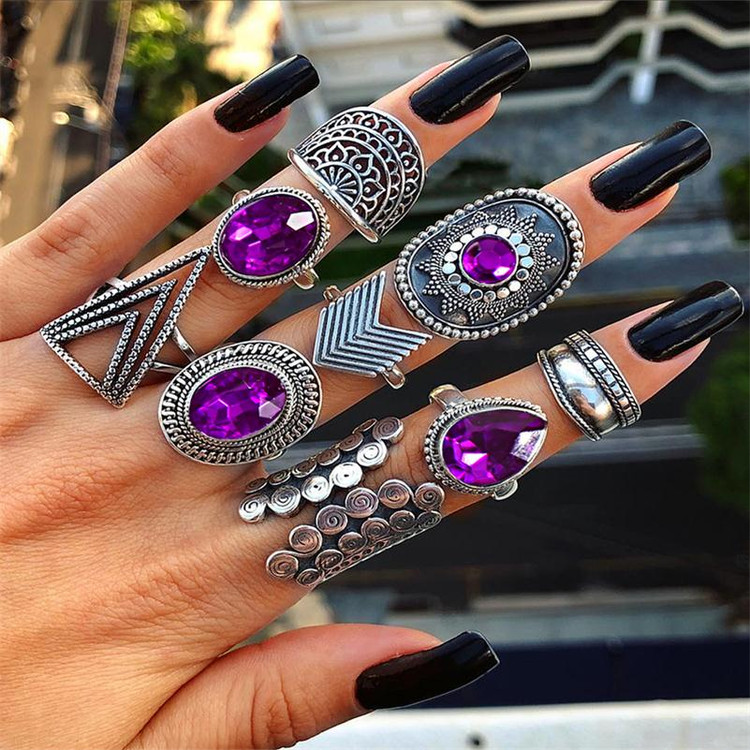 Ladies Personality Girl 9 Piece Triangle Arrow Sun Gemstone Crystal Silver Ring Jewelry Set
