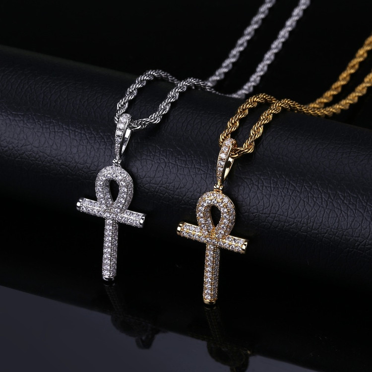 AAA Micro Pave 14k Gold Silver Hip Hop Key Of Life Original Ankh Cross