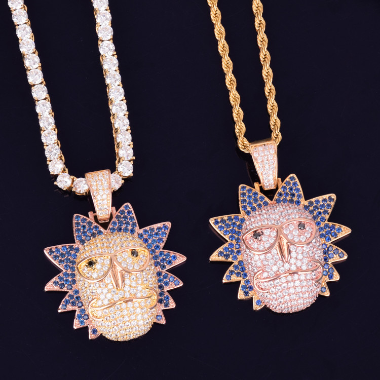 Men's 14k Gold Rose Gold Flooded Ice Morty Face Hip Hop Pendant Chain Necklace