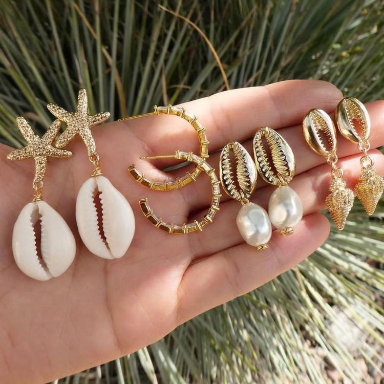 Ladies Boho Fashion Gold Shell Starfish Small Hoop Stud Earrings Jewelry Set