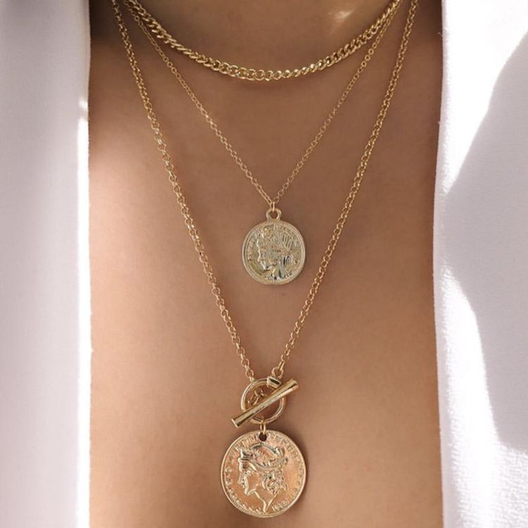 Ladies Retro Portrait Coin Multilayer Gold Chain Necklace Jewelry Set