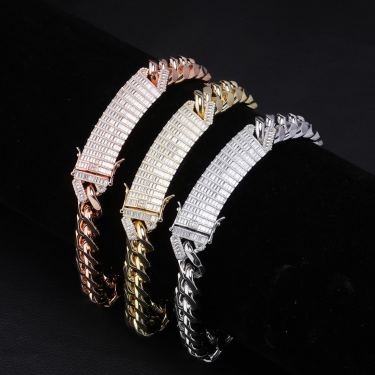 18mm Long Lock Clasp AAA Baguette Prong Pave Setting Cuban Link Chain Necklace