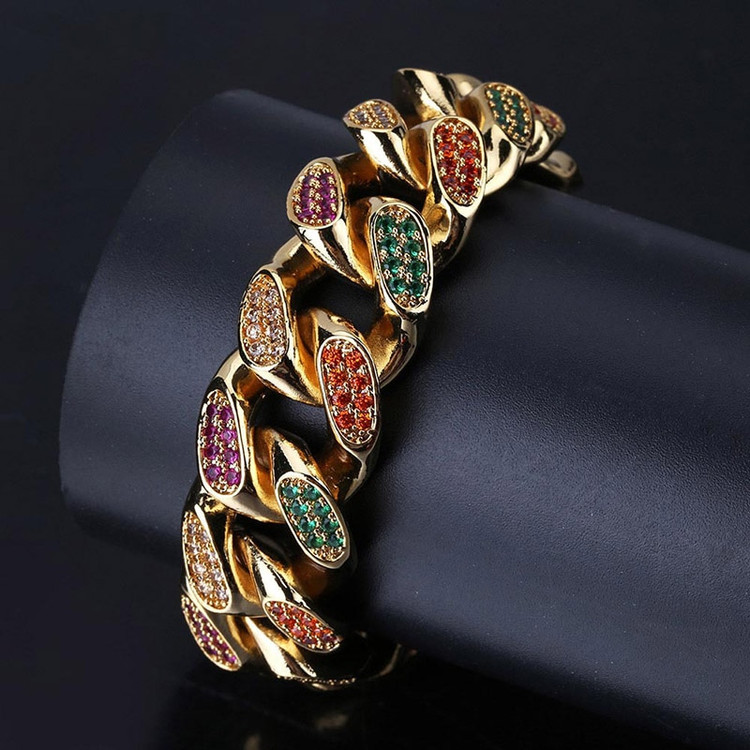 8mm Wide AAA Micro Pave Miami Cuban Link Bracelet
