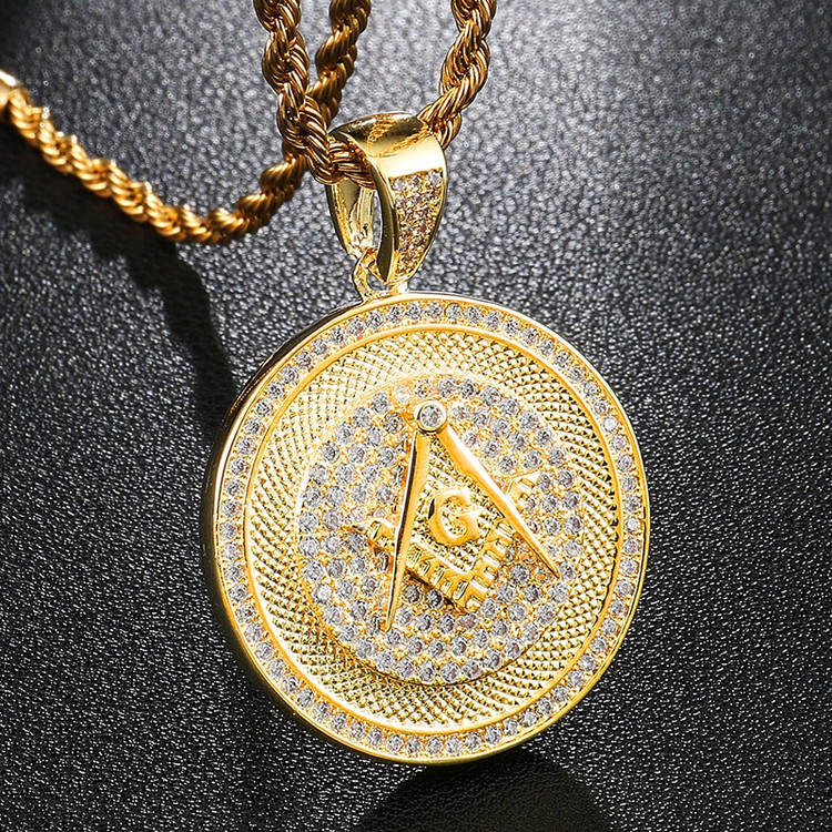 Hip Hop Flooded Ice AAA Micro Pave Stone Masonic 14k Gold Bling Pendant