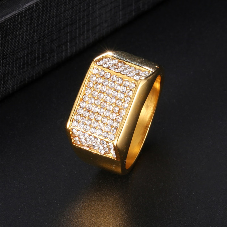 Hip Hop AAA Micro Pave 14k Gold Over Stainless Steel Classic 3 Corner Ring